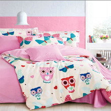 Free shipping pink owl bedding set 4pcs 100% cotton twin/full/queen/king size duvet cover bed sheet cartoon without filler(China)