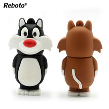 Lovely Cartoon Animal Wolf Pendrive 4GB 8GB 16GB 32GB 64GB USB Flash Drive Tom Cat Memory Stick Memoria Usb Disk(China)