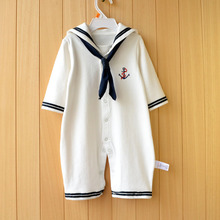 Newborn baby clothes White Navy Sailor uniforms Spring Antumn baby Boy rompers Cotton Long sleeves Baby girls jumpsuit