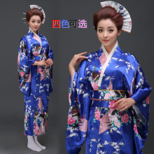4 color traditional japanese kimonos japanese silk robes yukata kimono geisha dresses uniform temptation female 527(China)