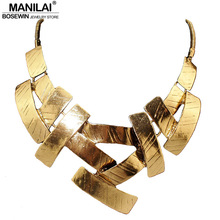 MANILAI Vintage Bib Choker Necklace Women Cross Metal Pendant Snake Chain Maxi Collar Statement Jewelry Fashion Accessories