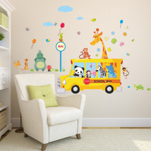 Cartoon Animals School Bus Wall Stickers For Kids Rooms Panda Monkey Giraffee Turtle Nursery Room Decor Art Wall Decal Poster