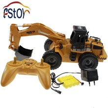 RC Excavator Alloy 6 Channel 4 Wheel Full Function Radio Control Excavator Engineer Truck Digger Loader(China)
