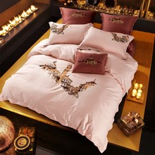 European City Print Light Pink Queen King Size 4Pcs Bedding Set Embroidery Technics Egyptian Cotton Bedlinens Duvet Cover Sets(China)