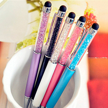 Creative Crystal Pen Diamond Ballpoint Pens Stationery Ballpen Stylus Pen Touch Pen 11 Colors Oily Black Refill 0.7 mm Hot