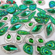 Dazzling Green AB Multicolor HandSewn Rhinestones Mixed Shape Stones and Crystals Strass Crystal Sew-on For Sewing Costumes Diy