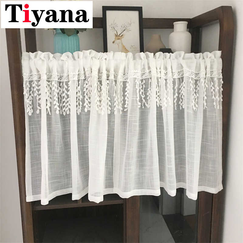 White Short Curtain Sheer Tulle For Window Display Desk Occlusion Curtain Home Living Room Kitchen Partition Door SC025D4