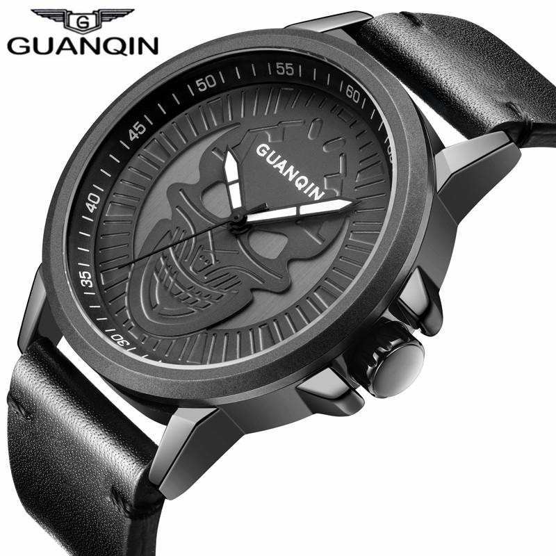 GUANQIN Luxury Brand Big Dial Simple Design Punk Skull Quartz Watch Men Sport Leather Strap Wristwatch Relogio Masculino 2017<br>