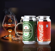 2017 new Cola bottle shaped beer advertisement inflatable  flame lighter with key buckle lighter