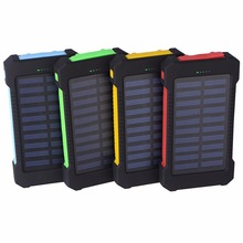 Portable Solar Power Bank Dual USB Power Powerbank Battery bateria external Outdoor Solar Panel with LED light Lamp Portable Hot