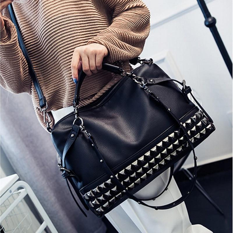 Fashion Boston Women Bag Ladies Rivet Messenger Bags For Women Vintage Designer Handbags High Quality Famous Brands Big Tote Bag<br><br>Aliexpress