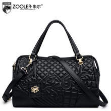 ZOOLER Genuine Leather Pillow Bag Lady 2017 New Floral Boston Tote Bags Handbags Women Famous Brands Casual Women's Shoulder Bag