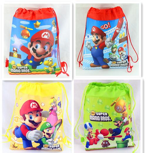 12-Pcs-Super-Mario-Bros-Drawstring-Storage-Bags-Kids-Travel-Backpack-Non-woven-Shoes-Bags