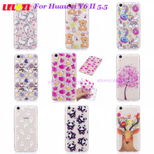 LELOZI Cartoon Accessories Phone Silicon Dust-proof Back Soft Case For Huawei Y6 II 5.5 Horse Deer Butterfly Bear Transparent(China)