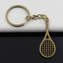 99Cents Keychain 48*19mm tennis racket Pendants DIY Men Jewelry Car Key Chain Ring Holder Souvenir For Gift