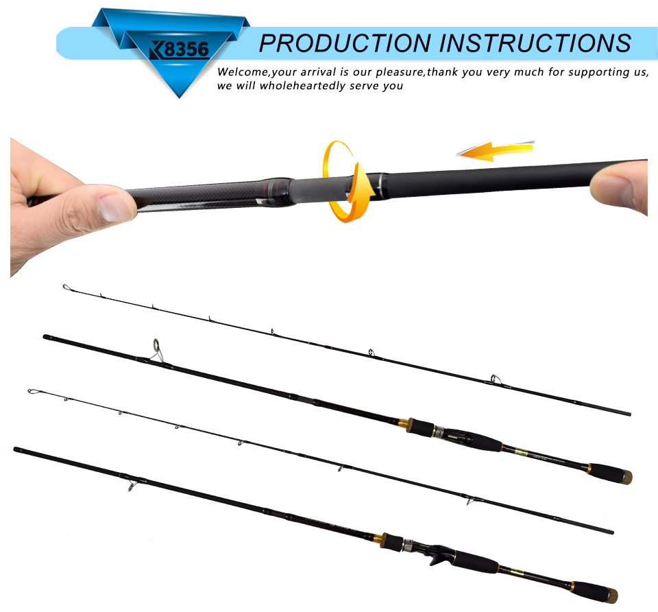K8356 99%Carbon Lure Rod 4 Section CastingSpinning Fishing Rod 1.8 2.1 2.4 2.7 3.0m Travel Stitching Saltwater Pole Fish Tools(19)