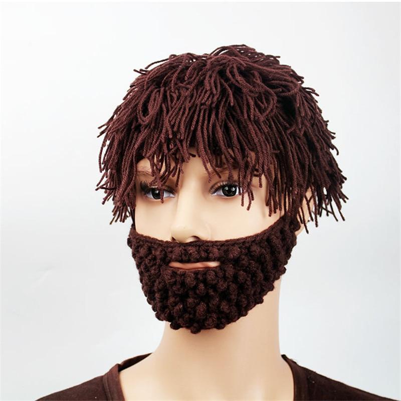 2017 Novelty Wig Beanie Beard Mens Caps Handmade Crochet Winter Warm Adult Hats Gorro Funny Halloween Xmas Birthday Party Gift Одежда и ак�е��уары<br><br><br>Aliexpress