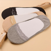 Women Cute Lace Cotton Socks Female Socks Gray Skin Invisible Footies Crew Socks 011(China)
