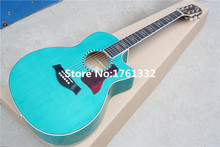 Factory custom 41-inch transparent blue acoustic guitar with gold tuners,can add fishman pickup EQ.Can be customized