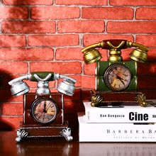 Retro Telephone Style Vintage Desk Clock Shabby Chic Vintage Table Clock Piggy Bank Resin Crafts 15*13*12cm(China)