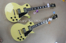 Free shipping New style LP cream yellow color H-H Electric Guitar Golden Hardware!