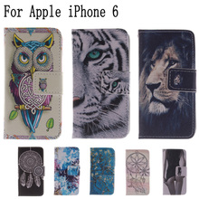 Cute Owl Lion Tiger Pattern Flip Case for Apple iPhone 6 4.7 inch Cover Case for capa iPhone 6 iPhone6 Case +Stand & Card Holder