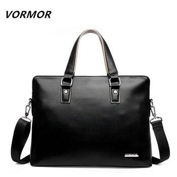 Vormor 2017 hombres maletín informal bolsa de cuero de la pu hombro bolsas de mensajero bolso de la computadora portátil