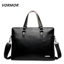 VORMOR 2017 Men Casual Briefcase Bag PU Leather Shoulder Messenger Bags Computer Laptop Handbag(China)