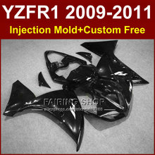 Glossy black Motorcycle parts for YAMAHA  fairings YZF-R1 09 10 11 12 bodywork YZF1000 +7Gifts Injection YZFR1 2009 2010 2011 R1
