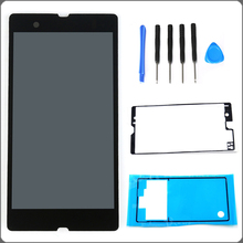 For Sony Xperia Z L36H L36i C6606 C6603 C6602 C660X C6601 LCD Display Touch Screen Assembly+Tools+ Adhesive Black Free shipping