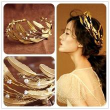 2017 Retro Baroque Wedding Crown Bride Headdress Headband Hair Accessories Golden Leaf Tiara Gold Jewelry Vintage Crowns Tiaras(China)