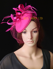 NEW Fuchsia/hot pink felt fascinator for wedding race carnival fascinator with feathers and veiling.FREE SHOPPING.(China)