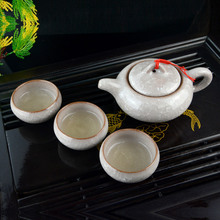 7 Pcs Crackle Glaze Chinese Yixing Tea Pot Set And Six Tea Cup Ice Break Coffee Hot Drink Flower Green Black Tea Cup