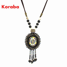 Woman Long Necklace Figure Shape Leather Material Beautiful Design Long Rope For Party NL-L20(China)