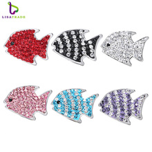 "Snap Jewelry 5PCS ""Fish""  snap button Fit Snap Button Bracelet and Pendant Rhinestone Delicate LSSN014*5--LSSN014-6*5"