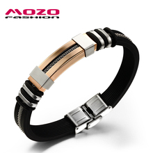 MOZO FASHION Men Charm Jewelry Pulseras Silicone Rubber Wristband Bracelets Golden Stainless Steel Bracelet Male Bangles TY793(China)