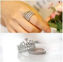2017  Fashion Silver Crystal Crown Rings For Women Party Ring Set Punk brand Jewellery Bague Femme Bijoux