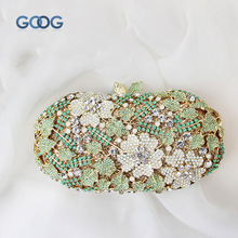 GOOG.YU New Original Design MINI Flowers Green Leaves Diamond Decoration Alloy Hand Bag Elegant Hollow Evening Clutch Bags(China)