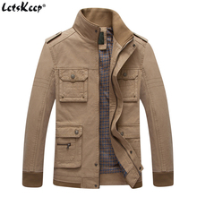 LetsKeep 2017 Tactical windbreaker jacket men stand collar casual military outwear coat mens autumn Multi-pocket jackets MA401(China)