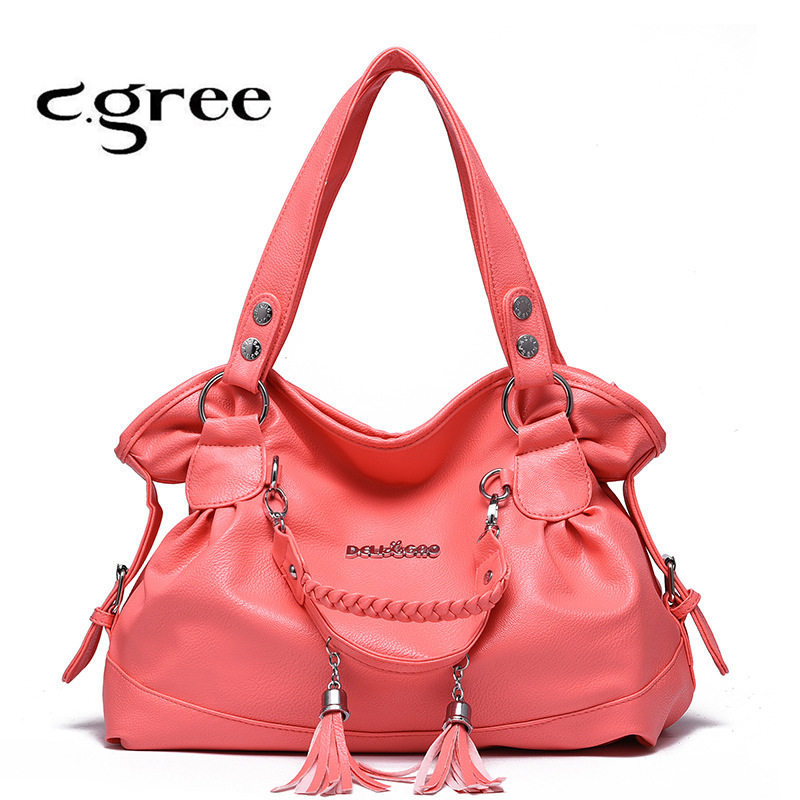 Cgree Brand PU Leather Women HandBagsWith Fashion Sequined and Tassel Design Solid Female Large Shoulder Bags Hobos Casual Tote<br><br>Aliexpress