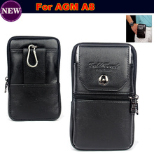 Luxury Genuine Leather Carry Belt Clip Pouch Waist Purse Case Cover for AGM A8 Waterproof  Mobile Phone Bag Free Shipping