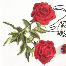 3PCS 32cm Embroidery red rose patch large flower appliques iron on patches for clothes sew on applique for dress bags craft(China)
