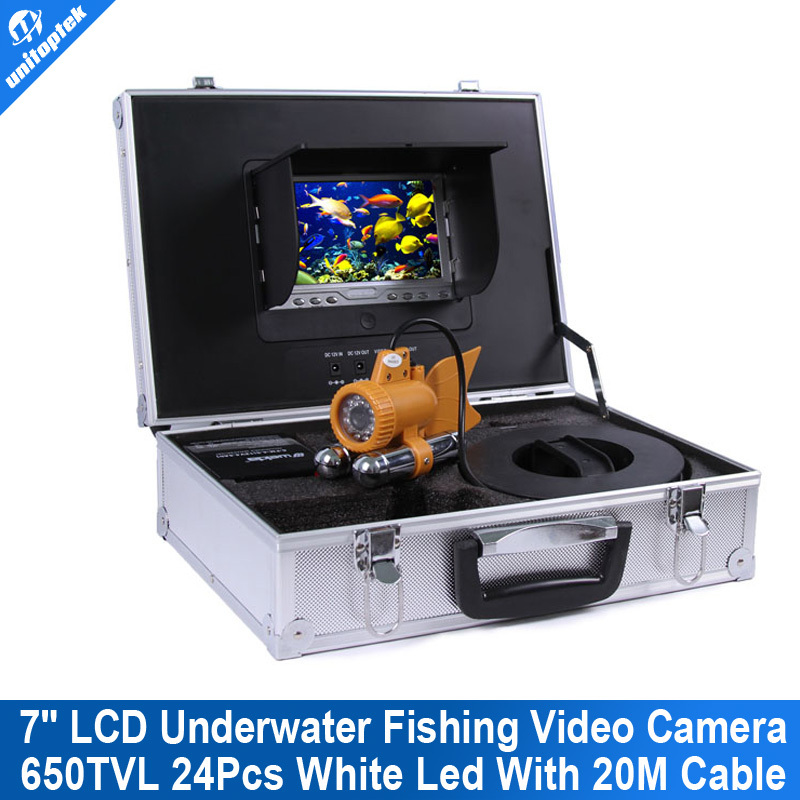 7 inch TFT LCD Fishing Camera Kit Fish Finder HD SONY 650TVL CCD Underwater Video Camera System With white light 20m Cable(China (Mainland))