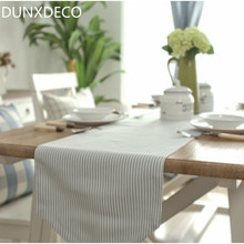 DUNXDECO Modern Meditteran Light Blue Stripe Cotton Table Runner Tablecloth Kitchen Textile Table Cover Home Store Decoration