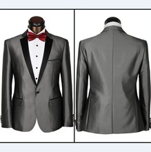 Custom Made Groomsmen Notch Black Lapel Groom Tuxedos Shiny Grey Mens Suits Wedding Best Man (Jacket+Pants+Tie+Hankerchief) B797(China)