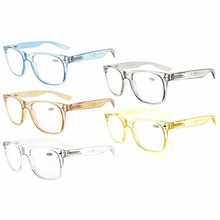 R133Mix 5 Pack Comfortable Spring Hinges Large Simple Reading Glasses (One for each color) +0.00----+4.00