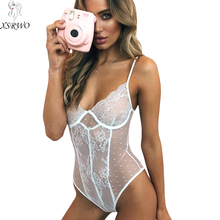 Buy 2018 Hot Plus Size Sexy Lingerie Deep-V Push White Floral Lace Bodysuit XSRWO Party Erotic Women Underwear Perspective Teddy