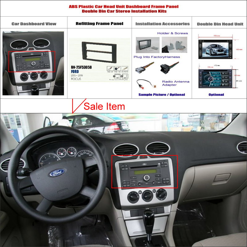 Double 2 din dash mount kit for ford focus 2005 2008 adapter bezel facia audio front surround