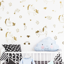 Buy 47 PCS Magical Unicorn Wall Art Stickers Kids Bedroom DIY Vinyl Wall Decal Mural Hearts Gold Self Adhesive Decal Wallpaper JW325 for $9.98 in AliExpress store