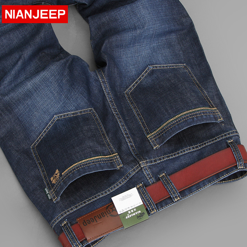 Nianjeep 2017 Middle-aged Mens Big Size 28-42 Casual Brand Spring Straight Denim Jeans Man Trouser Autumn Long Cowboy PantОдежда и ак�е��уары<br><br><br>Aliexpress